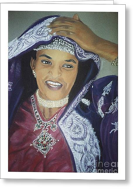 African-american Pastels Greeting Cards - African Women-Ethiopian Adari Girl Greeting Card by JackieO Kelley