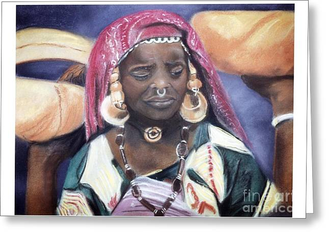 African-american Pastels Greeting Cards - African Women Series-African Woman Greeting Card by JackieO Kelley