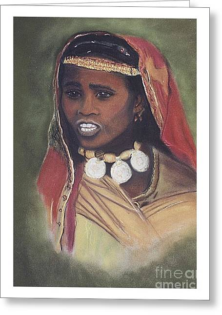 African-american Pastels Greeting Cards - African Women Series-Fulani Woman Greeting Card by JackieO Kelley