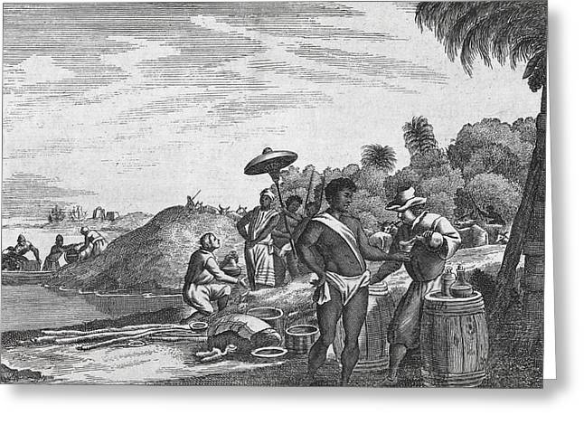 Resupply Greeting Cards - African Zenega and traders, 17th century Greeting Card by Science Photo Library