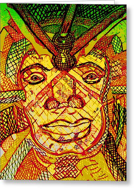 Multihued Greeting Cards - AfricanMask Greeting Card by Rahel TaklePeirce