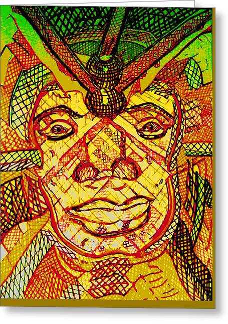 Licensor Drawings Greeting Cards - AfricanMask Greeting Card by Rahel TaklePeirce