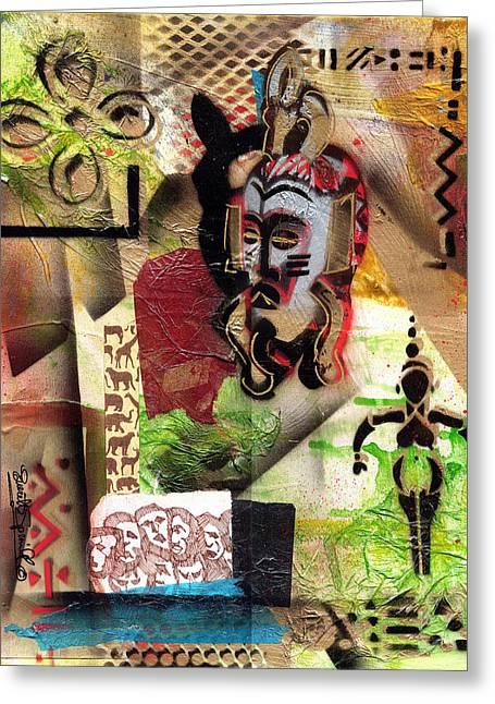 Everett Spruill Mixed Media Greeting Cards - Afro Aesthetic a  Greeting Card by Everett Spruill