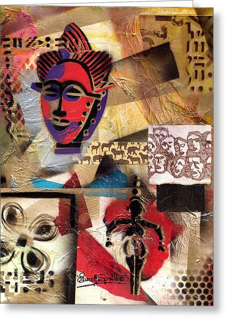 Everett Spruill Mixed Media Greeting Cards - Afro Aesthetic b Greeting Card by Everett Spruill
