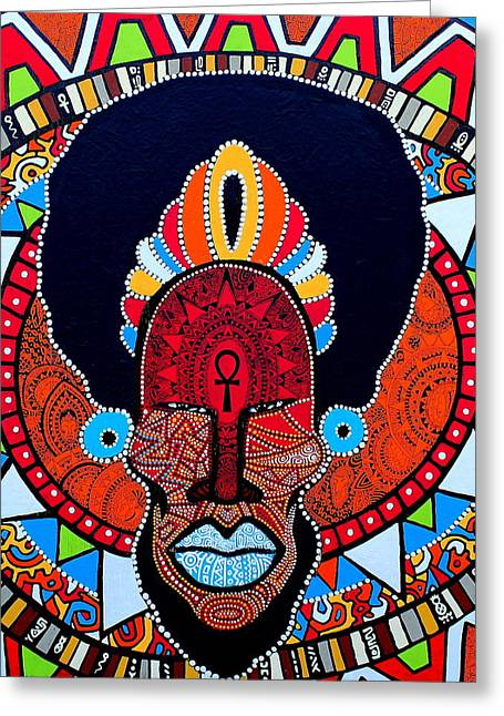 Taino Greeting Cards - Afro-Cacique Greeting Card by Ramel Jasir