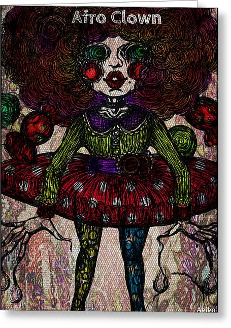 Analog Mixed Media Greeting Cards - Afro Clown Greeting Card by Akiko Kobayashi