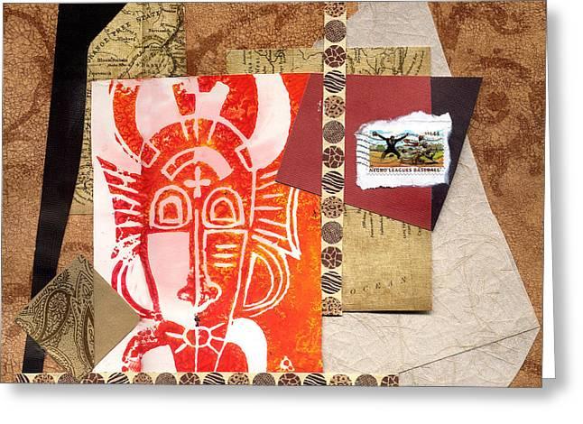 Everett Spruill Mixed Media Greeting Cards - Afro Collage A - 2012 Greeting Card by Everett Spruill