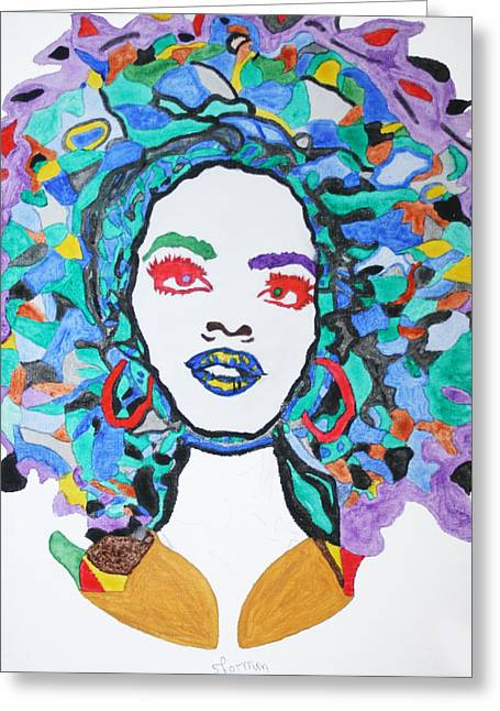 Afro Lauryn Hill  Greeting Card by Stormm Bradshaw