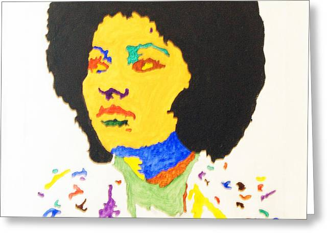 Afro Pam Grier Greeting Card by Stormm Bradshaw