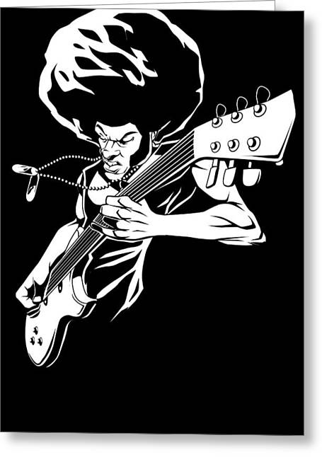 Badass Greeting Cards - Afro rock guitarist Greeting Card by Jay Reed