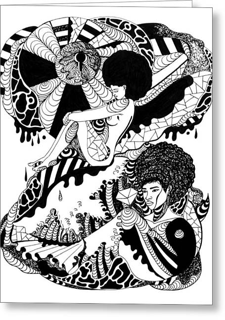 Afrocentric Art Greeting Cards - Afrocentric Escape Greeting Card by Kenal Louis