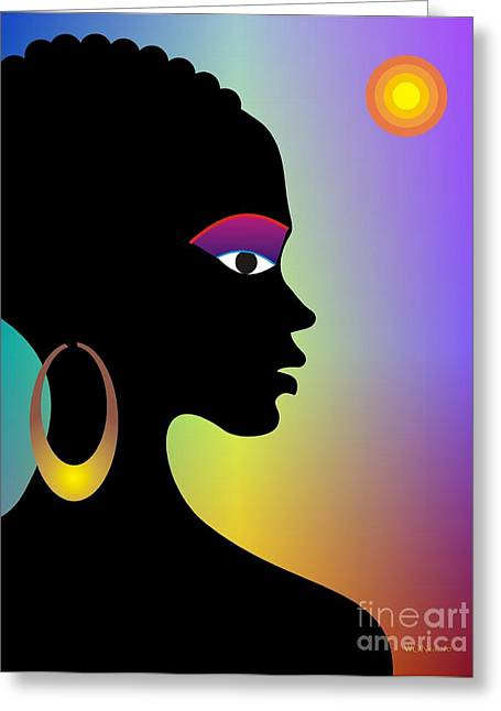 Gold Earrings Greeting Cards - Afroette Greeting Card by Walter Oliver Neal