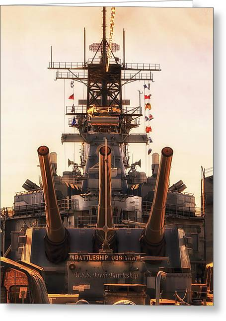 16 Inch Guns Greeting Cards - Aft Turret 3 Sun Down USS Iowa Battleship Greeting Card by Thomas Woolworth