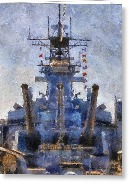 Docked Boat Greeting Cards - Aft Turret 3 USS Iowa Battleship PhotoArt 02 Greeting Card by Thomas Woolworth