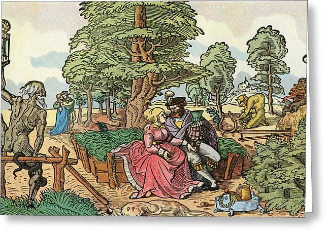 Wrapped Around Greeting Cards - After A 16th Century Woodcut By Peter Flötner Entitled The Hazards Of Love.  Lovers In A Garden Greeting Card by Bridgeman Images