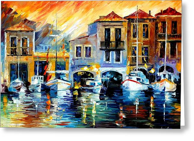 Popular Art Greeting Cards - After A Days Work - PALETTE KNIFE Oil Painting On Canvas By Leonid Afremov Greeting Card by Leonid Afremov