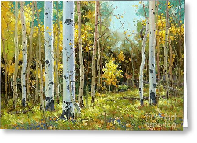 Fall Aspens Greeting Cards - After a rain shower Greeting Card by Gary Kim
