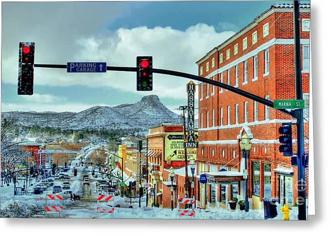 Snowstorm Framed Prints Greeting Cards - After A Snowstorm In Prescott Arizona Downtown Greeting Card by K D Graves