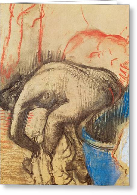 France 1874-1886 Greeting Cards - After Bath Greeting Card by Edgar Degas