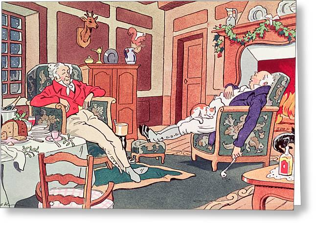 Foot Stool Greeting Cards - After Christmas Lunch Greeting Card by Anonymous