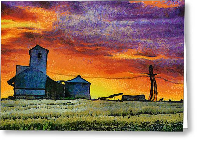 Back Road Digital Greeting Cards - After Harvest - Digital Painting Greeting Card by Mark Kiver