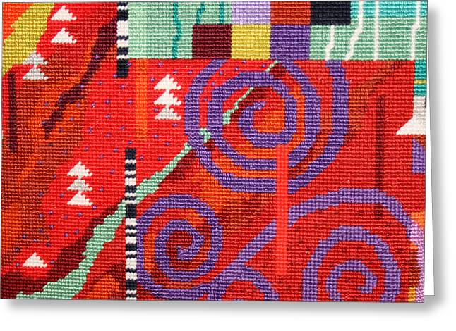 Red Abstracts Tapestries - Textiles Greeting Cards - After Klimt Greeting Card by Connie Pickering Stover