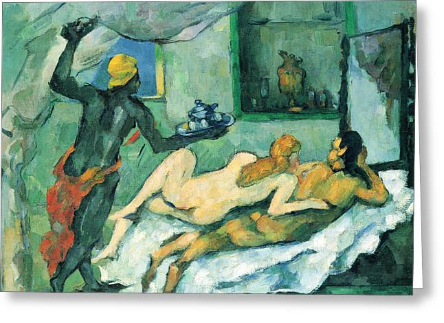 John Peter Greeting Cards - After lunch in Naples by Cezanne Greeting Card by John Peter