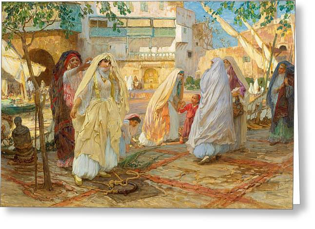 Frederick Greeting Cards - After Party. Port Algiers Greeting Card by Frederick Arthur Bridgman