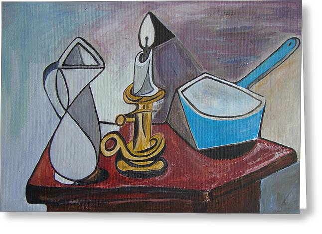 Veronica Rickard Greeting Cards - After Picasso Still Life with Casserole Greeting Card by Veronica Rickard