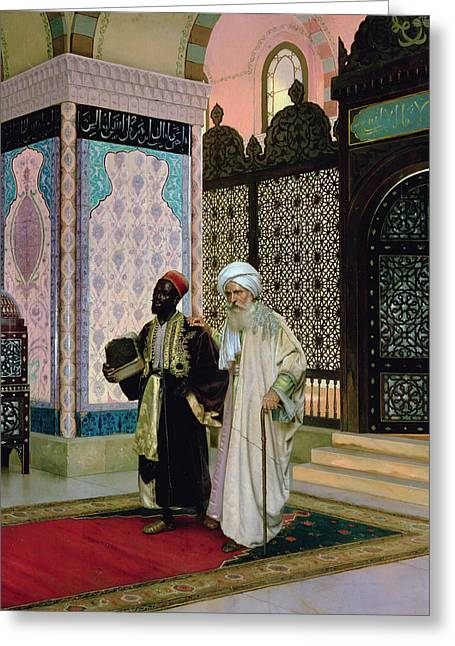 Religious Paintings Greeting Cards - After Prayers at the Mosque Greeting Card by Rudolphe Ernst