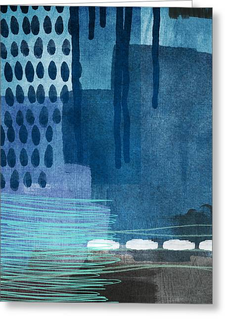 Blue Drip Greeting Cards - After Rain- Contemporary Abstract Painting  Greeting Card by Linda Woods