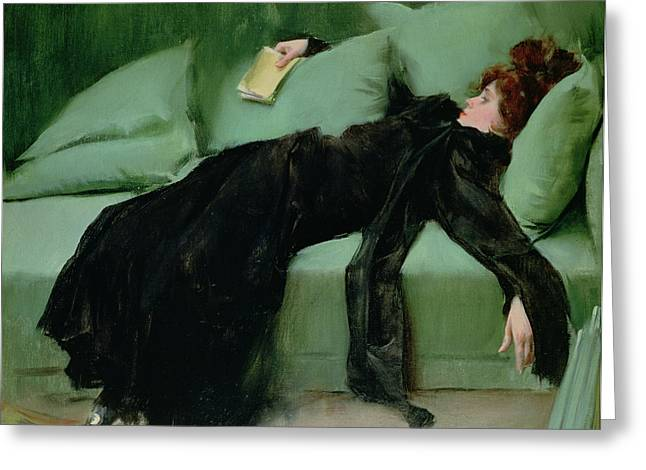 Lounge Paintings Greeting Cards - After the ball  Greeting Card by Ramon Casas i Carbo
