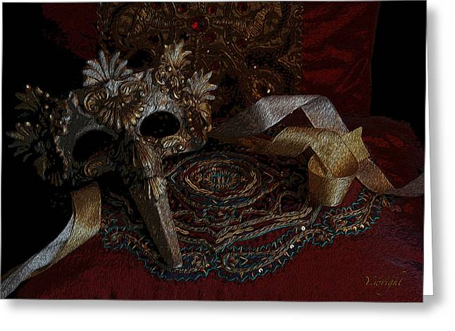 Festivities Digital Art Greeting Cards - After the Ball - Venetian Mask Greeting Card by Yvonne Nowicka-Wright