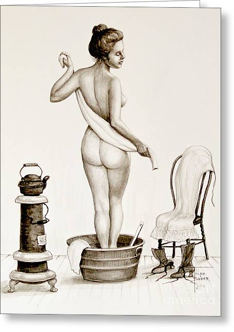 Pantaloons Greeting Cards - After the Bath 1890s Greeting Card by Art by - Ti   Tolpo Bader