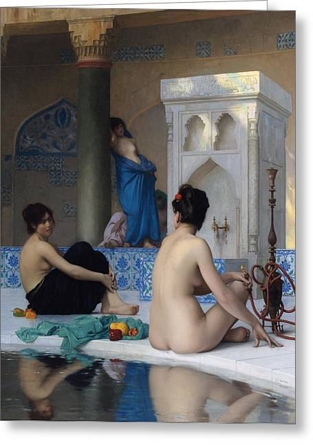 Jean Leon Gerome Greeting Cards - After the bath Greeting Card by Jean-Leon Gerome