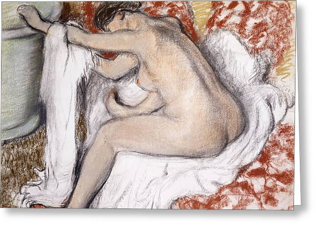 Back Pastels Greeting Cards - After the Bath Woman Drying Herself Greeting Card by Edgar Degas