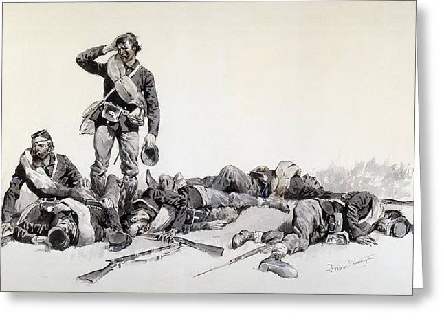 Bravery Drawings Greeting Cards - After the Battle Greeting Card by Frederic Remington