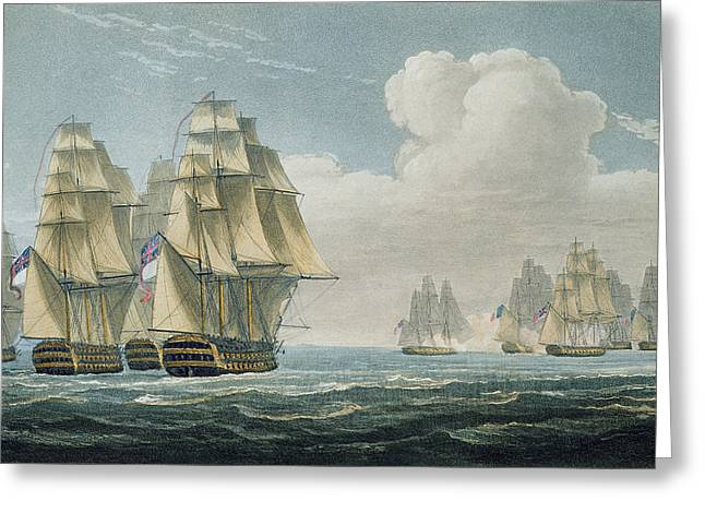 Sailing Ship Drawings Greeting Cards - After The Battle Of Trafalgar Greeting Card by Thomas Whitcombe