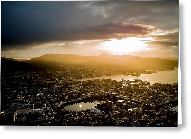 Lightscapes Greeting Cards - After the Bergen Rain Greeting Card by Hakon Soreide