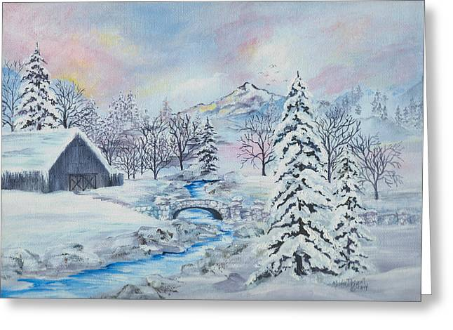 Barn Covered In Snow Greeting Cards - After The Blizzard Greeting Card by Meldra Driscoll
