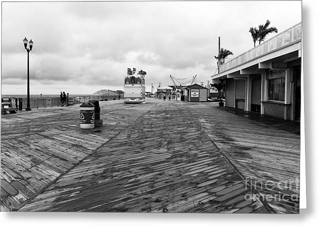 Seaside Heights Greeting Cards - After the Fire mono Greeting Card by John Rizzuto