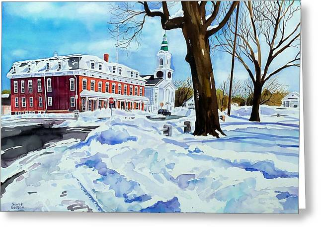 Scott Nelson And Son Paintings Greeting Cards - After the Grafton Common snow Greeting Card by Scott Nelson