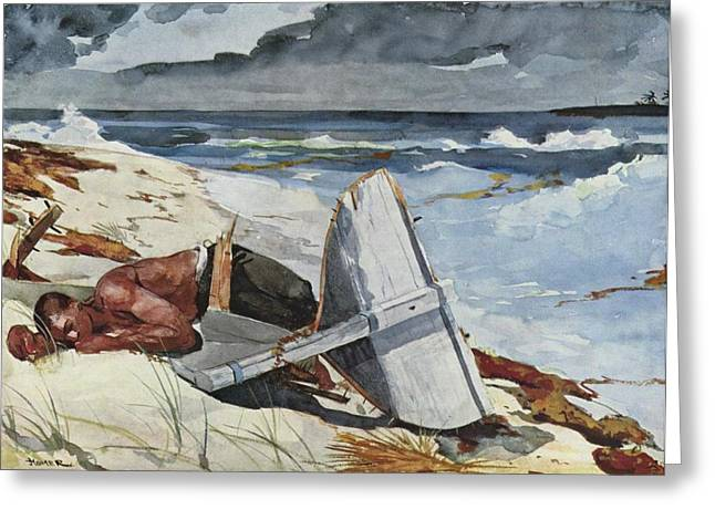 Winslow Homer Digital Art Greeting Cards - After the Hurricane Greeting Card by Winslow Homer