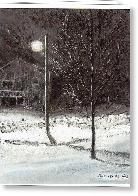Streetlight Pastels Greeting Cards - After the Ice Storm Greeting Card by Sue Lewis