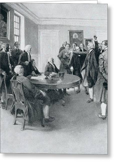 Brandywine Greeting Cards - After The Massacre Samuel Adams Demanding Of Governor Hutchinson The Instant Withdrawal Of British Greeting Card by Howard Pyle
