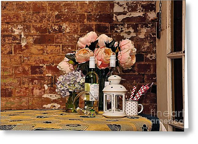 Wine Holder Photographs Greeting Cards - After the Party Greeting Card by Kaye Menner