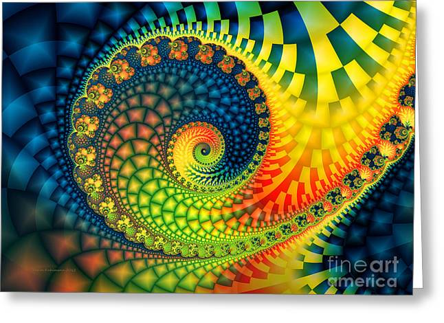 Large Decorative Greeting Cards - After The Rain-Fractal Art Greeting Card by Karin Kuhlmann