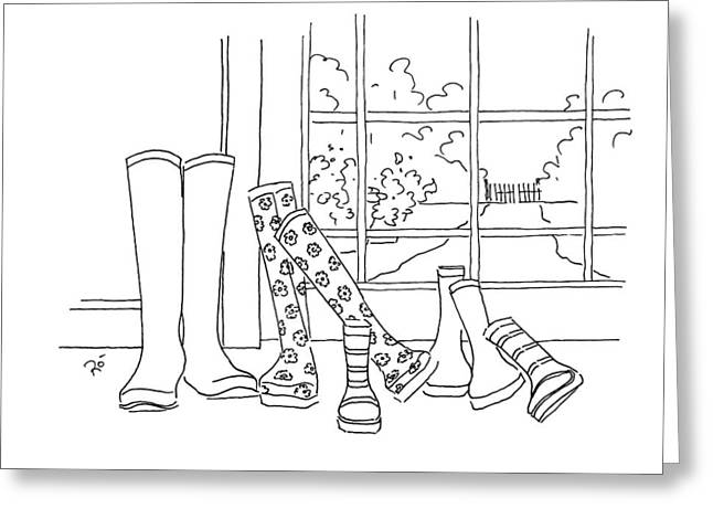 Muck Drawings Greeting Cards - After the rain has gone Greeting Card by Roisin O Farrell