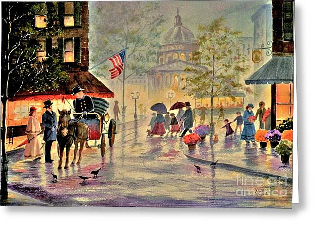 Streetlight Greeting Cards - After The Rain Greeting Card by Marilyn Smith