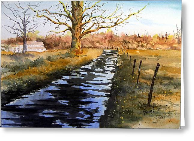 Puddle Paintings Greeting Cards - After The Rain Greeting Card by Sam Sidders